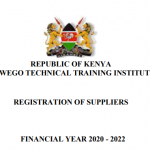 MAWEGO TECHNICAL TRAINING INSTITUTE TENDER 2020